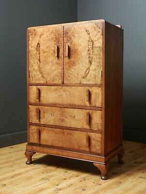 Attractive Large Vintage Art Deco Walnut Tallboy Cabinet Chest of Drawers