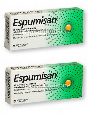 ESPUMISAN - Stomach Pain, Meteorism, Bloating, Colic relief. 40mg. 25 or 50 caps