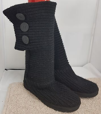 UGG Women's Black Classic Cardigan Cardy Pull-on Knitted Boots UK Size 4.5 #622