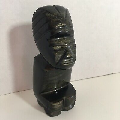 Vintage Aztec Mayan Inca Hand Carved Black Onyx Obsidian Warrior Figure Statue