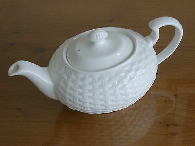 "[New] Aynsley Belleek [Basketweave] Fine Bone China White Teapot [Height 6""]"