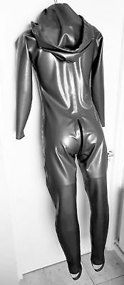 Latex Rubber CATSUIT hooded UNISEX TV XS S M L XL XXL Metallic Pewter