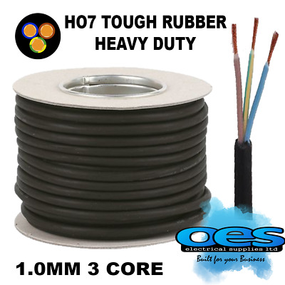 Rubber Cable 3 Core 1.0Mm Ho7Rn-F Heavy Duty Camping Pond Outdoor Site Extension