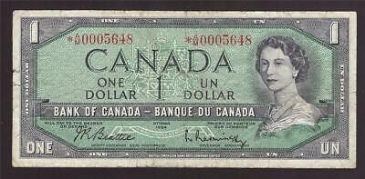 1954 Canada $1 dollar replacement banknote *A/M0005648 F15 small margin tears