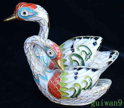 Old Chinese Delicate Cloisonne Carve Mandarin Duck Art Collectable Room Statue