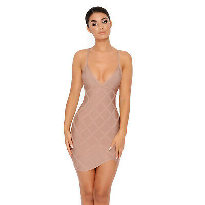 42a53f2d9e8 NWT Oh Polly lattice off the hook plunge bandage blush nude dress size  medium 10