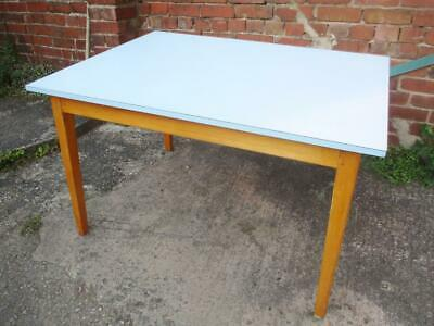 Vintage 1960's Blue Formica & Beech Wood Dining Kitchen Table Mid-Century Retro