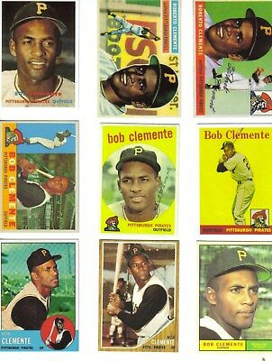 Roberto Clemente 1955-1972 Complete Topps 19 Card Lot #2 Nm