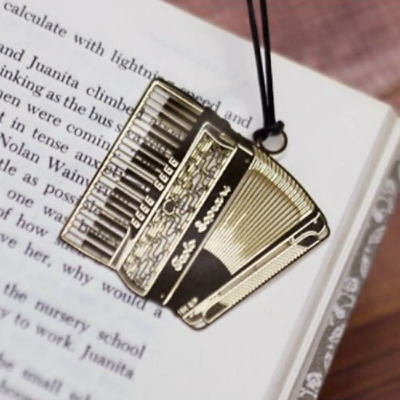 Accordion Music Musician Gold Plated Metal Bookmarks Book Markers Gift Readers