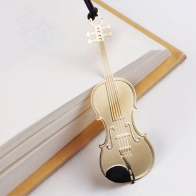 Violin Music Musician Gold Plated Metal Bookmarks Book Markers Gift For Readers