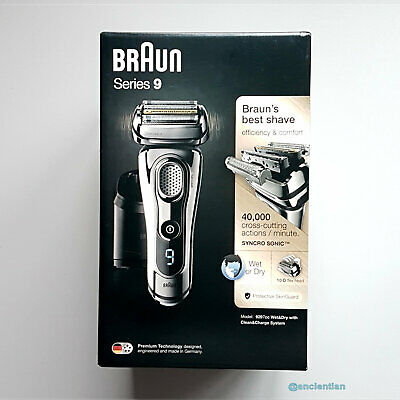 BRAUN Series 9 9297cc Men's Chrome Electric Shaver/Wet+Dry/Clean+Renew/Cordless