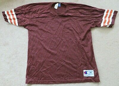 535b9d78f Vintage CHAMPION Cleveland Browns Blank Mesh Brown NFL Football Jersey 48  NEW