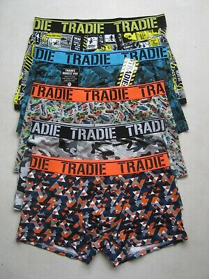 5 x  MEN'S TRADIE PRINT COTTON STRETCH TRUNK