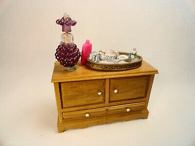 Dollhouse miniature furniture Deluxe wood Bedroom Makeup Dressing Table