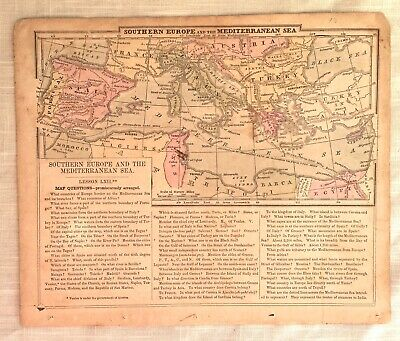 Antique Hand Colored Map of Southern Europe & North Africa - circa 1855