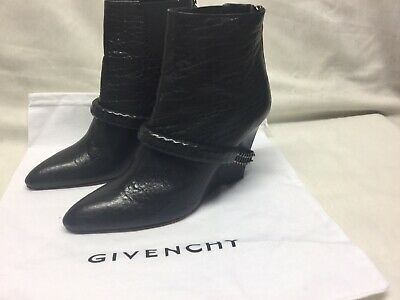452b4268eb7 Givenchy Womens Ankle Boots Crackled Leather With Chain Accents Black Size  36.5