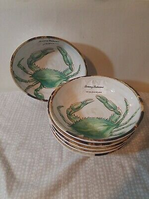 Tommy Bahama Ocean Blue Crab Melamine Turquoise Salad Soup Cereal Bowls Set of 6