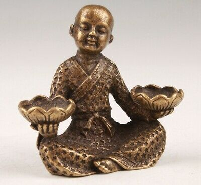 Chinese Bronze Hand Casting Buddhist Boy Statue Spiritual Gift Collection