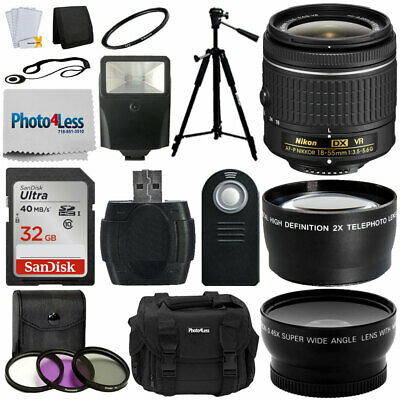 Nikon 18-55 mm f/3.5-5.6G VR AF-P DX Nikkor Lens for Nikon DSLR Cameras + More