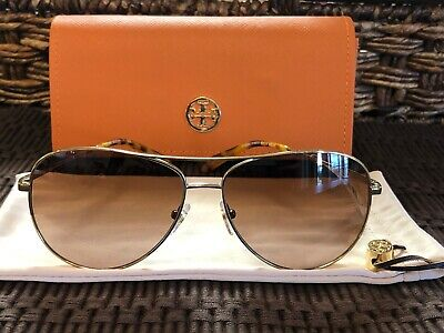 d315700028c7 NWT Tory Burch 59mm Metal Aviator Gradient Lens Sunglasses Gold Tortoise