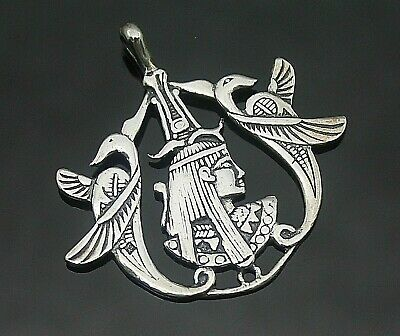 Superb Vintage Open Design Ancient Egypt Motif Sterling Silver Pendant