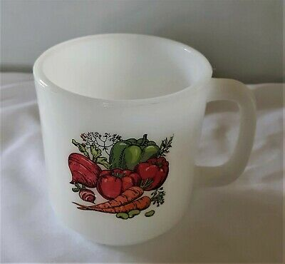 Vintage Glasbake Milk Glass Coffee Mug Vegetable Harvest Garden Graphic  Retro