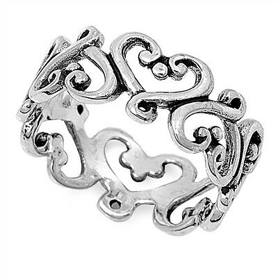 925 STERLING SILVER Heart Swirl Dress Band Ring Size 9 10 11 12 13 / R T V X Z