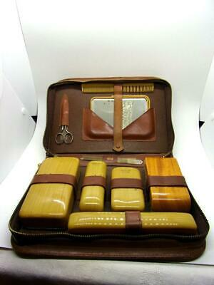 Vintage Men's Travel Grooming Kit Celluloid Toiletry Mid Century Cowhide Leather