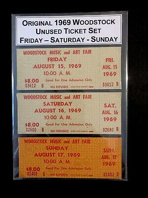 Original 1969 Woodstock Unused Ticket Set ~ Friday - Saturday - Sunday ~ NICE!