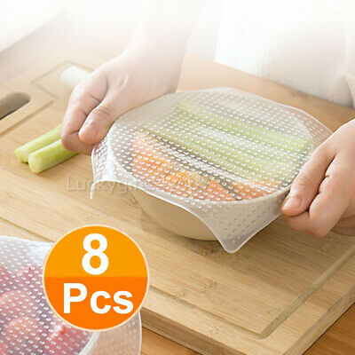 8X Reusable Food Fresh Keeping Silicone Stretch Lids Wrap Seal Vacuum Cover AU