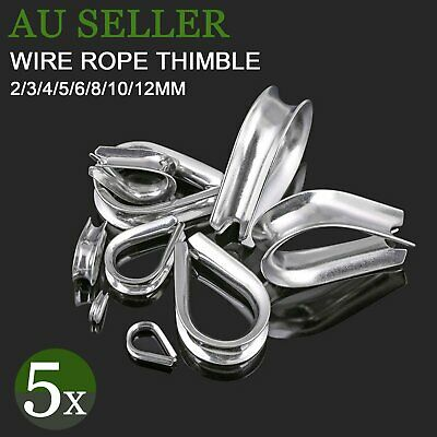 5x Wire Rope Thimble 316 Grade Stainless Steel 2mm 3mm 4mm 5mm 6mm 8mm 10mm 12mm