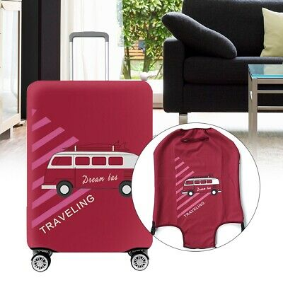 Suitcase Luggage Cover Protector Elastic Dustproof Anti Scratch Red Bus Pattern