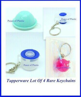 Tupperware New Set of 4 Rare Keychains Wonderlier, Mix n Stor Red Onion Keeper