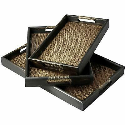 Brown Wood and Woven Rattan Nesting Serving Trays