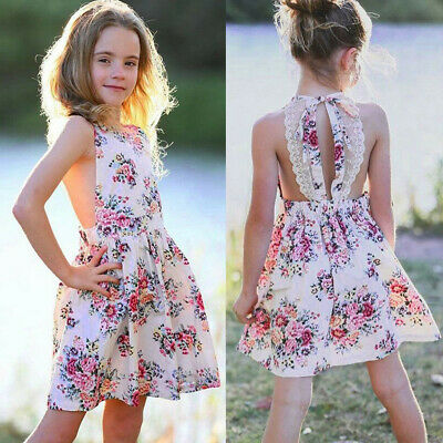 Summer Infant Baby Girls Sleeveless Cute Floral Print Backless Lace Cloth Dress