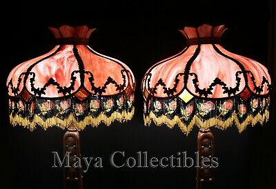 Magnificent Antique Vintage Pink Slag Glass Hanging Lamp Shade Beaded Fringes