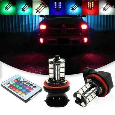For Fog Light Driving Lamps 7-Color RGB H11/H8 LED Bulbs w/ Wireless IR Remote