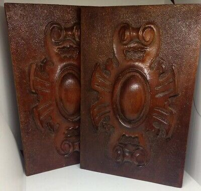 Pair Of Decorative Antique Carved Wooden Panels/Plaques - Stippled Design