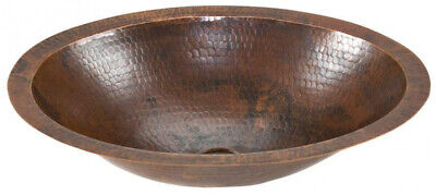 Bathroom Sink Oil Rubbed Bronze Under-Counter Small Oval Hammered Rustic Copper