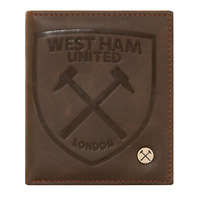 West Ham United FC Official Football Gift Luxury Brown Faux Leather Wallet Crest