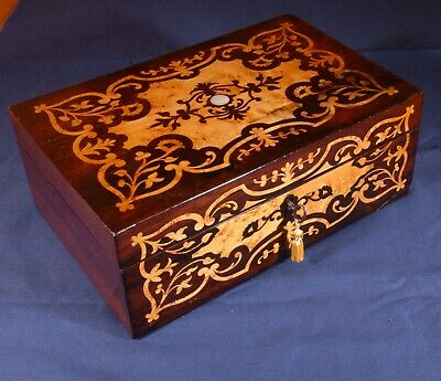 Beautiful antique box of rosewood and marquetry of maple root. R3080359