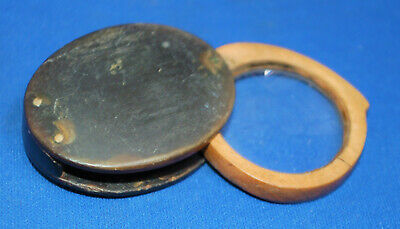 An  antique horn cased magnifying glass, single lens loupe, Victorian