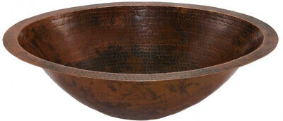 Bathroom Sink Oil Rubbed Bronze Under-Counter Master Bath Oval Hammered Copper