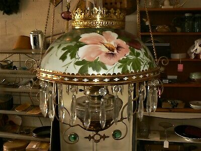 Antique Victorian Hanging BRASS Lamp  Hand painted Adjustable, Chimney  (ml)