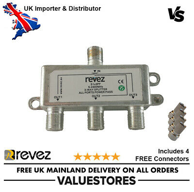 3 Way Powerpass F Type Cable Splitter 5-2400Mhz TV Aerial Sky Freeview Virgin