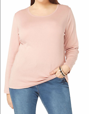 d24eb1e429a NEW EX EVANS LIGHT PINK Pure Cotton Long Sleeve Top T SHIRT TUNIC Plus Size  16