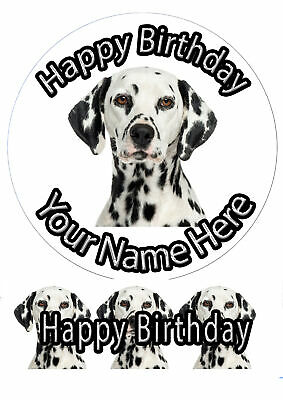 ND1 Dalmatian puppy dog birthday personalised A4 cake topper icing sheet