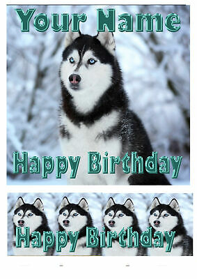 Square Cake Topper Birthday Husky Dog personal Rice paper,Icing fondant.196