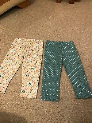 Two Pairs Of Little Girls Legging Age 9-12 Months