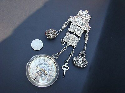Antique Silver Dutch Verge Fusee Pocket Watch / Date & Chatelaine  1700's